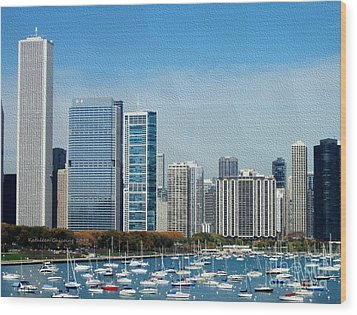 Chicago Skyline Wood Print by Kathie Chicoine