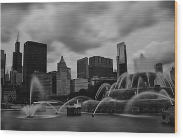 Wood Print featuring the photograph Chicago City Skyline by Miguel Winterpacht
