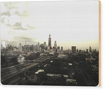 Chicago Skyline Wood Print by Mike Maher