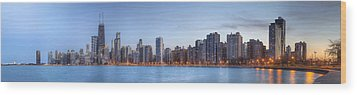 Wood Print featuring the photograph Chicago Skyline Night Panorama by Shawn Everhart
