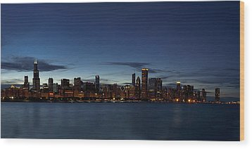 Chicago Skyline Panorama Wood Print by Andrew Soundarajan