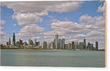 Chicago Skyline Wood Print by Sharin Gabl