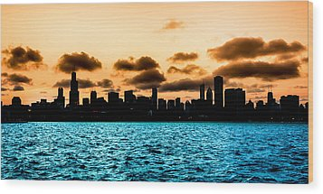 Chicago Skyline Silhouette Wood Print by Semmick Photo