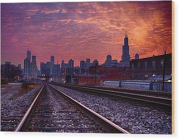 Chicago Skyline Sunrise December 1 2013 02 Wood Print by Michael  Bennett