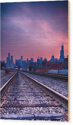 Chicago Skyline Sunrise December 1 2013 Wood Print by Michael  Bennett