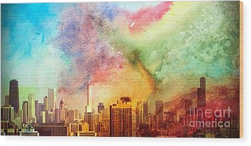 Chicago Skyline Watercolor Sky Wood Print