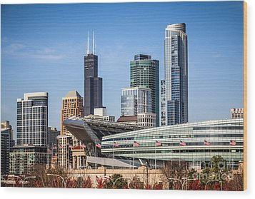 Chicago Skyline With Soldier Field And Sears Tower  Wood Print by Paul Velgos