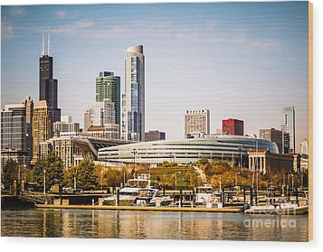 Chicago Skyline With Soldier Field Wood Print