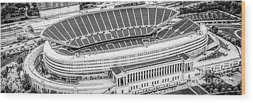 Chicago Soldier Field Aerial Panorama Photo Wood Print by Paul Velgos