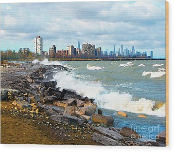 Chicago South Lakefront Wood Print by Cedric Hampton