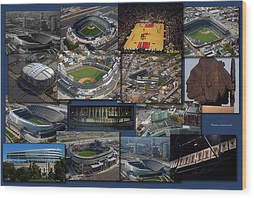 Chicago Sports Collage Wood Print by Thomas Woolworth