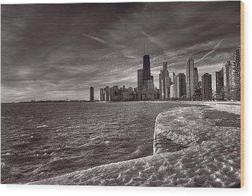 Chicago Sunrise Bw Wood Print by Steve Gadomski