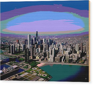 Chicago Sunset Wood Print by Charles Shoup
