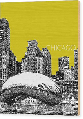 Chicago The Bean - Mustard Wood Print by DB Artist