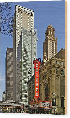 Chicago Theatre - This Theater Exudes Class Wood Print by Christine Till