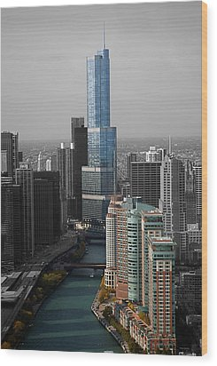 Chicago Trump Tower Blue Selective Coloring Wood Print by Thomas Woolworth