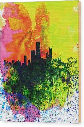Chicago Watercolor Skyline Wood Print by Naxart Studio