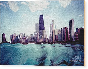 Chicago Windy City Digital Art Painting Wood Print by Paul Velgos