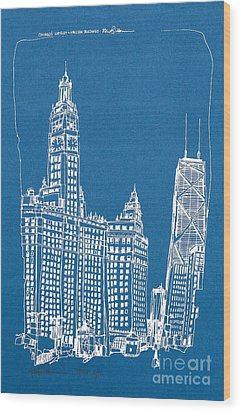 Chicago Wrigley And Hancock Bldgs Silkscreen Print Wood Print