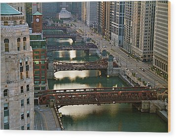 Wood Print featuring the photograph Chicago's Bridges @ Sunrise by John Babis