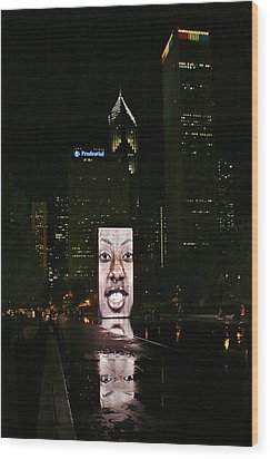Chicago's Crown Fountain At Night Wood Print by Christine Till