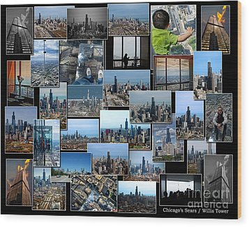 Chicago's Sears Willis Tower Collage Wood Print by Thomas Woolworth