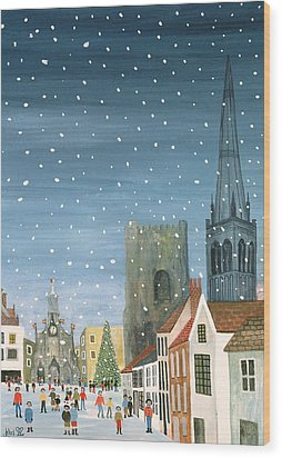 Chichester Cathedral A Snow Scene Wood Print by Judy Joel