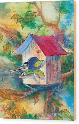 Chickadee Bungalow Wood Print by Teresa Ascone