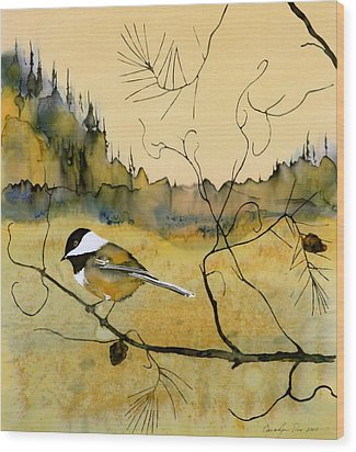 Chickadee In Dancing Pine Wood Print by Carolyn Doe