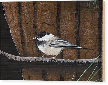 Chickadee Wood Print by Jennifer Lake