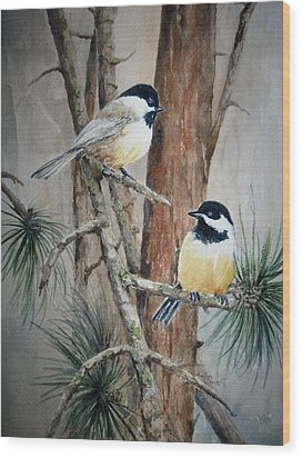Chickadee Pair Wood Print