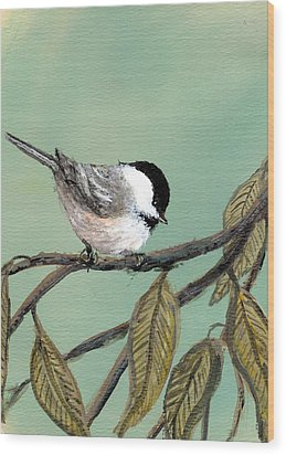 Chickadee Set 10 - Bird 1 Wood Print by Kathleen McDermott