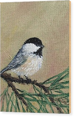 Chickadee Set 17 Bird 1 Detail Print Wood Print by Kathleen McDermott