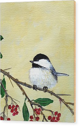 Chickadee Set 4 - Bird 2 - Red Berries Wood Print by Kathleen McDermott