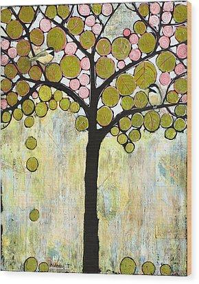 Chickadee Tree Wood Print by Blenda Studio