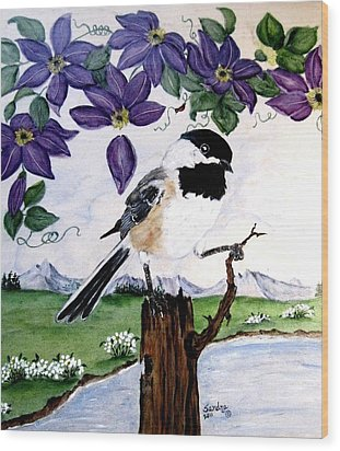 Chickadee With Blue Clematis Wood Print by Sandra Maddox