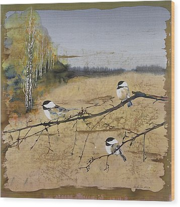 Chickadees And A Row Of Birch Trees Wood Print by Carolyn Doe