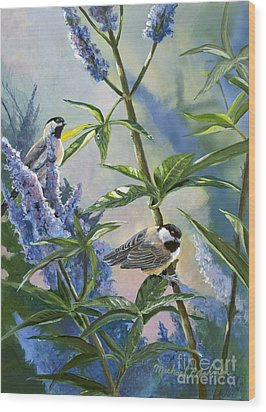 Chickadees And Lilac Wood Print by Michael Ashmen