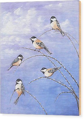 Chickadees Wood Print by Carl Genovese