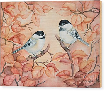 Chickadees Wood Print by Inese Poga