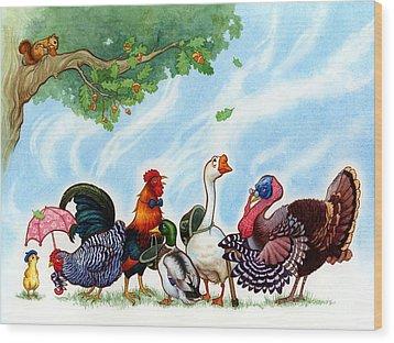 Chicken Licken Wood Print by Isabella Kung