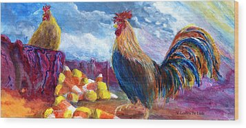 Wood Print featuring the painting Chickens And Candy Corn by Lenora  De Lude