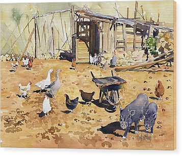 Chickens Geese And Little Pigs Wood Print by Margaret Merry