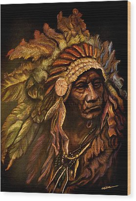 Chief Dark Horse Wood Print by Wade Starr