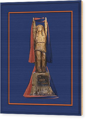Chief Illiniwek University Of Illinois 05 Wood Print by Thomas Woolworth