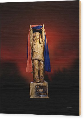 Chief Illiniwek University Of Illinois 06 Wood Print by Thomas Woolworth