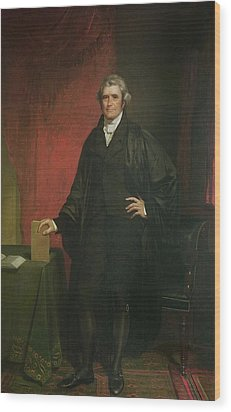 Chief Justice Marshall Wood Print by Chester Harding