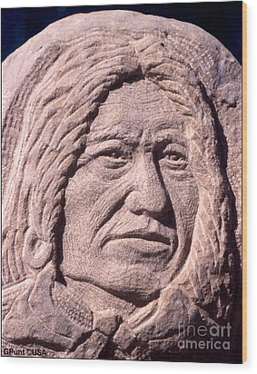 Chief-spotted-tail Wood Print by Gordon Punt