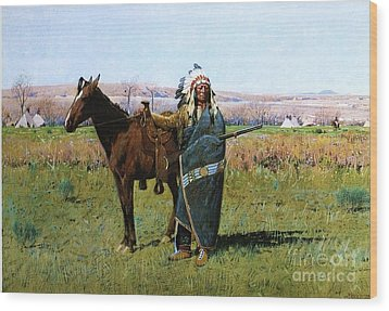 Chief Spotted Tail Wood Print by Pg Reproductions