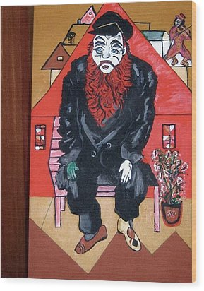 Wood Print featuring the painting Chigall By Nora by Nora Shepley